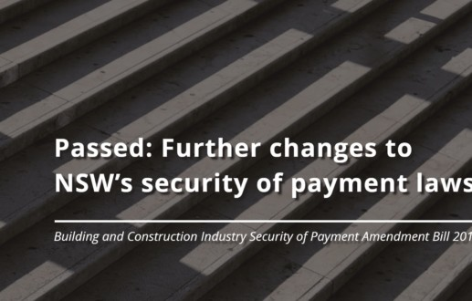 Passed: Further changes to NSW's security of payment laws