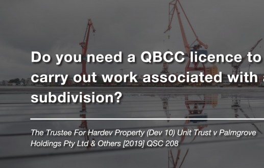 Do you need a QBCC licence to carry out work associated with a subdivision?