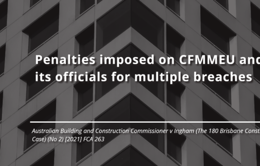 Penalties imposed on the CFMMEU and its officials for multiple breaches
